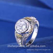 Custom Made Two Tone Cubic Zirconia Ring From China Supplier