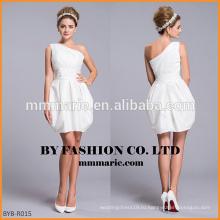 2016 короткие одно плечо складки паффи свадебное платье