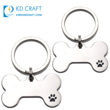 High quality custom bone shaped metal stainless steel pet name tag bulk cheap personalized dog tag necklaces with keychain