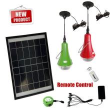 luces solares de venta caliente 2014 portátil con control remoto para luz que acampa solar interior