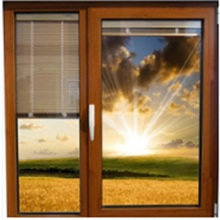 Aluminum Casement Doors with Roller Blinds