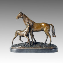 Escultura De Bronce Animal Escultura De Bronce De Caballo De Madre-Hijo Tpal-152