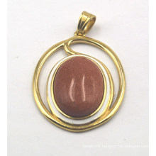 New Arrival Gold Plated Pendant with 18*25mm Gemstone