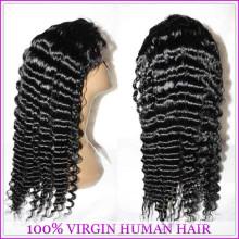 100% unverarbeitete reine haare großhandel billige brasilianische menschliches haar volle spitzeperücken