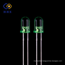 High Quality round 5mm 520nm water clear led green color