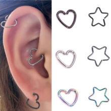 10Pcs Coração De Aço Inoxidável / Star Ring Piercing Hoop Brinco Helix Tragus Daith