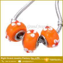 DIY moda Murano flor lampwork gran agujero granos de cristal y perlas de vidrio de Murano