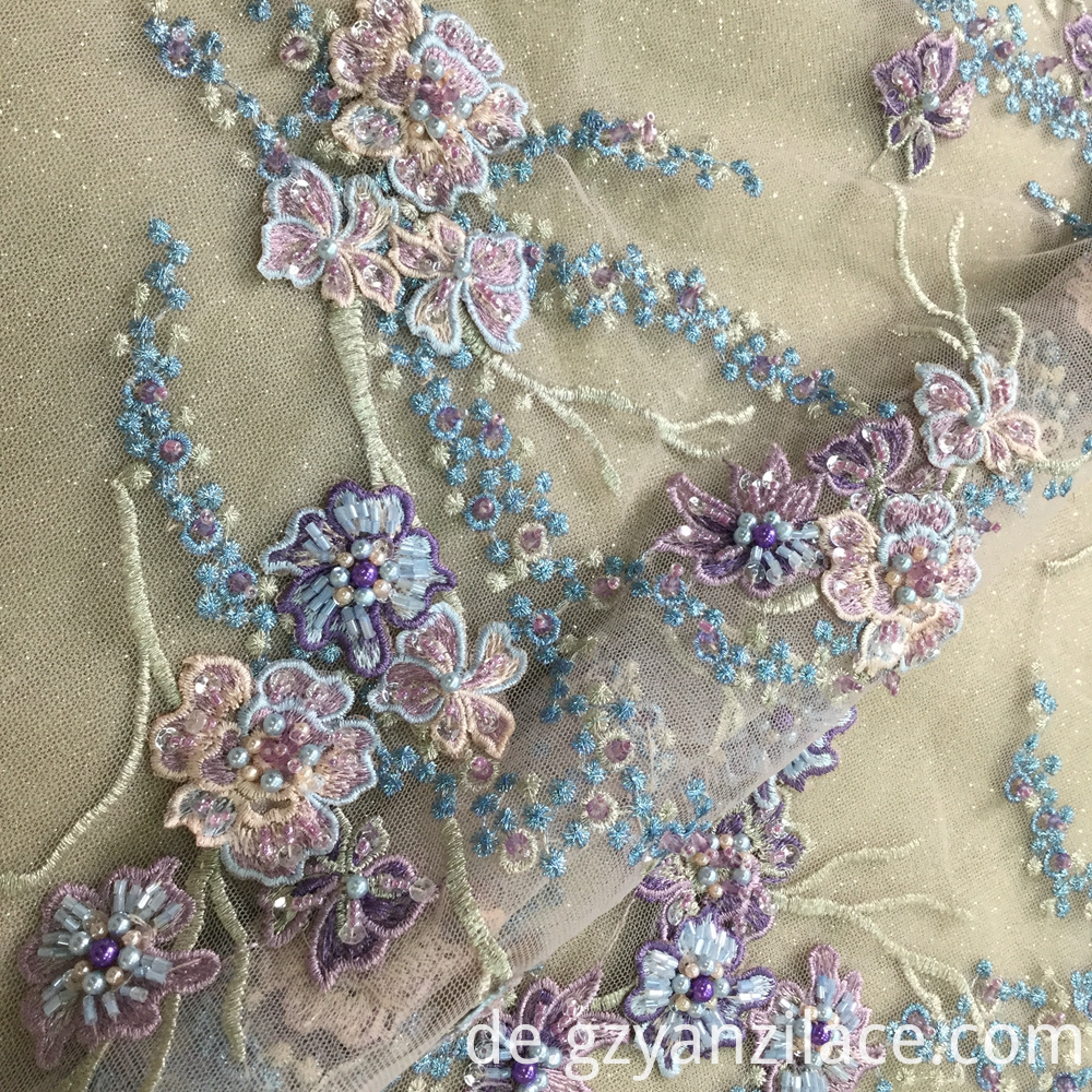 Purple Beaded Lace Fabric