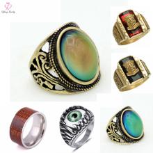 Boy Single Wood Eye Stone Ring Design, Men Stainless Steel Stone Gold Ring