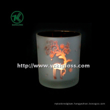 Color Double Wall Glass Candle Cup by BV (6*7*8)