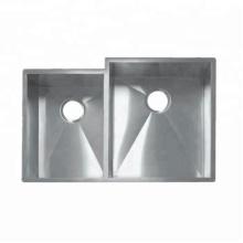évier double carré évier fait main en acier inoxydable 304
