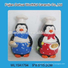 Promotional penguin-shape ceramic biscuit jar