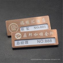 Custom Metal Business Name Badge Magnet Employee Name Tag Laser Engraved Staff Name Pins