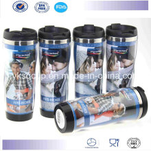 350/420ml Double-Wall Stainless Steel Travel Mug with PP Plastic Leak-Proof Closing Lid