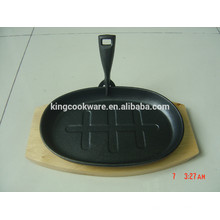 pre-seasoned cast iron sizzling pan plate with good quality