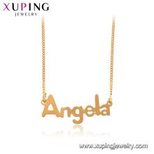 44996 xuping 18k plaqué or Angela chaîne de mot collier pendentif