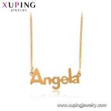44996 xuping 18k gold plated Angela word chain necklace pendant