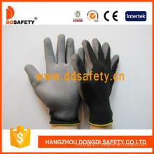 Black Nylon Gloves with Grey PU Coated on Palm and Finger Dpu118