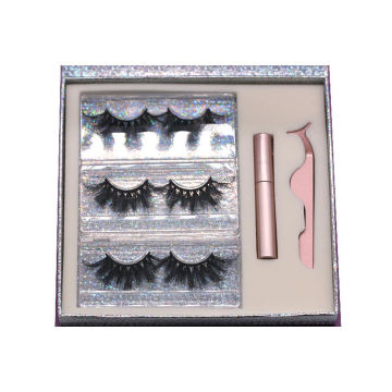 MH01H Hitomi Real Mink Eyelashes Wholesale soft natural mink eyelashes Fluffy 25mm Magnetic Eyelashes with Eyeliner and tweezers