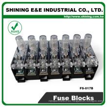 FS-017B 600V 10 amperios de 7 vías midget tipo Din base de vidrio fusible de vidrio