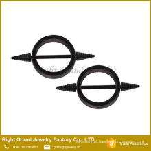 Cirúrgico aço titânio preto chapeado círculo forma anéis de mamilo Piercing
