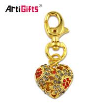 Porte-clés fait sur commande de coeur d'or de la vente en gros 3D fait sur commande avec la fausse pierre