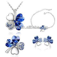China fornecedor mais quente trevo jóias bridal safira jóias conjunto