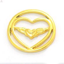 Mode 22mm Legierung 24 Karat Gold Schmuck magnetische schwimmende Charme Medaillon Herz Fensterplatten Großhandel