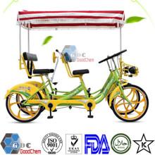 Hot Sale Luxuriöses Vier-Personen-Vierrad-Surrey-Sightseeing-Fahrrad mit Kindersitz