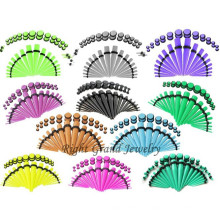 Kit de estiramiento del oído de acrílico ULTRAVIOLETA colorido modificado para requisitos particulares