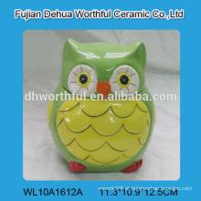 Decorativo recipiente de alimentos de cerâmica, frasco de coruja de cerâmica para atacado