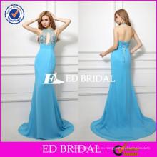 XZA002 Open Back Amostra Real Design Exclusivo Halter Mermaid Andar Comprimento Sexy Evening Dress