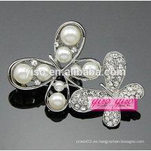 Perla y rhinestone broche de mariposa de diamantes