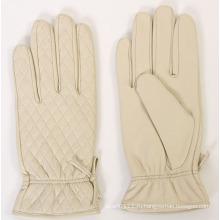 Леди мода проверено шаблон овчины кожа Водительские перчатки (YKY5171)