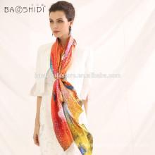2015 China silk scarf fashionable scarf digital print silk lady scarf and shawl wholesale