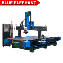 Promoción Blue Elephant Styrofoam Milling and Wood Drilling Machine Nuevo Furniture CNC Router con Side Punching Spindle