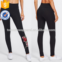 Черный Роза вышитая аппликация Леггинсы OEM и ODM Производство Оптовая продажа женской одежды (TA7023L)
