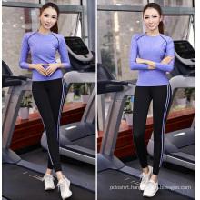 Wholesale 88% Polyester 12% Spandex Sport Tops Women, Gym Wear, Long Sleeve Yoga Tops Women