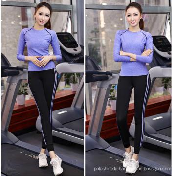 Großhandel 88% Polyester 12% Spandex Sport Tops Frauen, Gym Wear, Langarm Yoga Tops Frauen