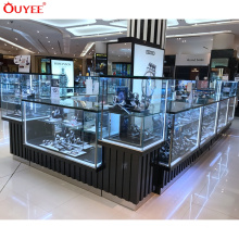 Modern Customized Watch Glass Counter Display Watch Kiosk Watch Display Cabinet for Malls