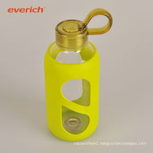 colorful sweat-proof clear double wall glass water bottle