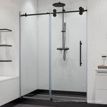 Seawin 10mm black hardware frameless 1 panel single sliding shower folding door