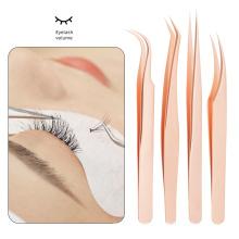 private label mega volume diamond grip eyelash tweezers case 90 degree lash tweezer
