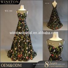 2016 guangzhou Supplier Ball Gown Long black Bateau neckline Evening Dress