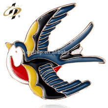 Promotional gift soft enamel colorful custom swallow badge from making machine