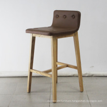 Solid Wood with Leather Soft Bar Chair