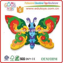 Wholesale Preschool Kids Educational Wooden Toy Jigsaws Alphabet Butterfly
