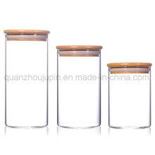 OEM Transparent Glass Storage Jar with Wooden Lid