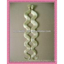 Körperwelle weiße Farbe i-Tipp Keratin Haarverlängerung