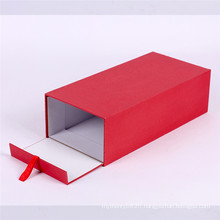Custom red flip gift packaging box with ribbons